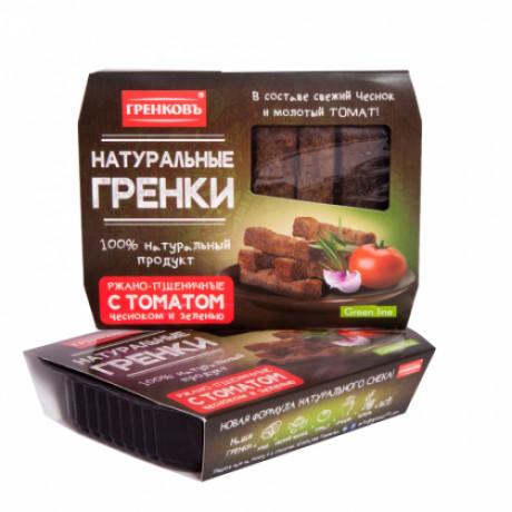 Гренки ржано-пшеничные с томатом, чесноком и зеленью, 70 гр.