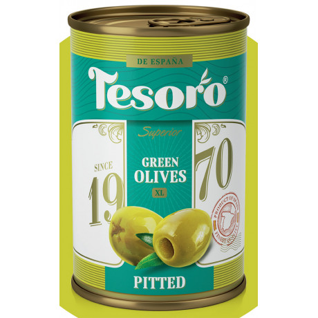 Оливки зеленые без косточки Tesoro 314 мл
