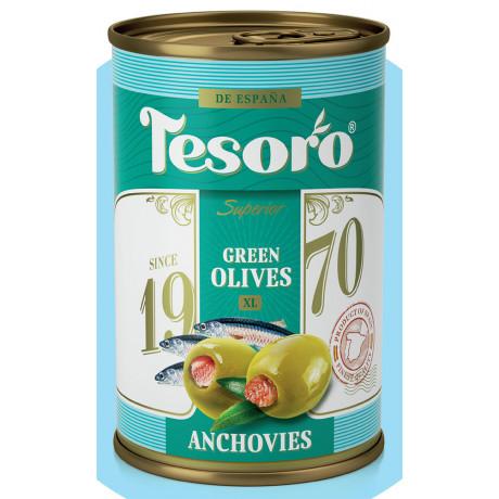 Оливки зеленые, фаршированные анчоусом Tesoro, 314 мл