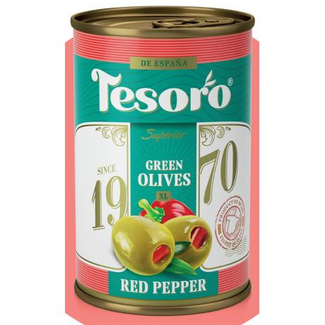 Оливки зеленые, фаршированные красным перцем Tesoro, 314мл