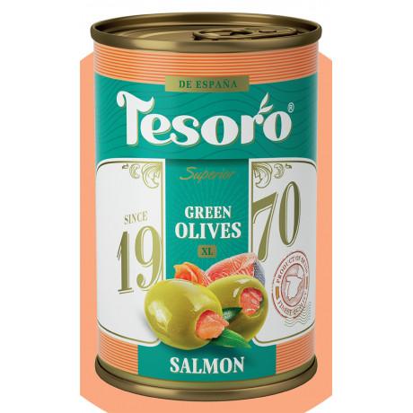 Оливки зеленые, фаршированные лососем Tesoro, 314мл