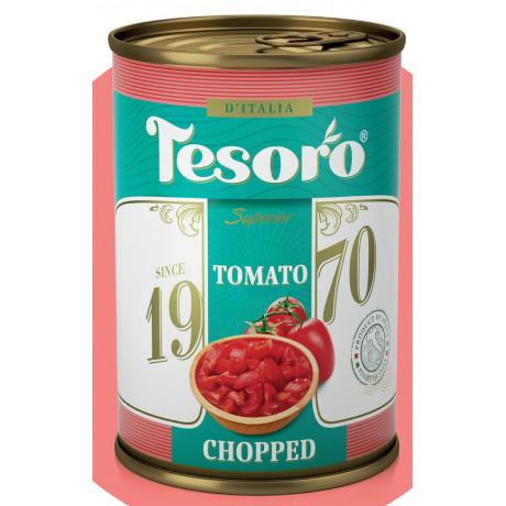 Томаты резаные очищенные в собственном соку Tesoro 425мл