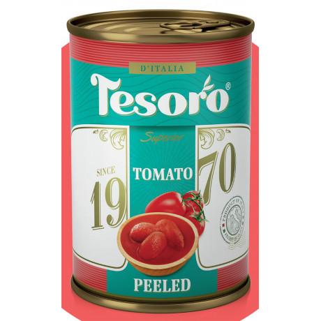 Томаты целые очищенные в собственном соку Tesoro 400гр/425мл